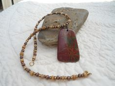 Reduced Red and Green Picture Picasso Jasper Pendant Necklace Natural Stone Artisan Ethnic Tribal Style Jewelry Art Deco Boho Statement by LandofBridget