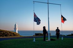 Sunset flag ceremony at Cape Otway Lighthouse Great Ocean Road  Anzac Day 2016. Photo: Maarten Stappaerts  #anzacday2016 #anzac #australia #Victoria #GreatOceanRoad #CapeOtwayLightstation #Lighthouse #LighthouseLove #notsquare by maartez_photo
