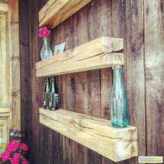 Beam Wall shelves - Home Page Pallet Dog Beds, Pallet Wood, Wood Projects For Beginners, Diy Pallet Furniture, Wood Bars, Cool Walls, Pallet Projects, Wall Shelves, Beams