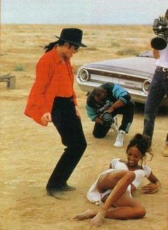 """Naomi Campbell and Michael Jackson on the set of """"Keep It In The Closet."""""""