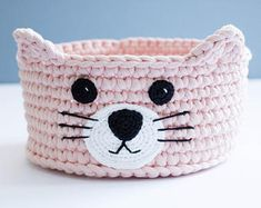 Cat lover gift, nursery storage basket, crochet basket, cat toy basket, toy tidy, eco friendly, custom colour