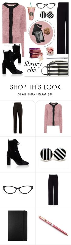 """""""Study Session: Library Chic"""" by theseapearl ❤ liked on Polyvore featuring Maison Margiela, Marni, Yves Saint Laurent, Chico's, Pink Tartan, MAC Cosmetics, Moleskine, Kobo, Fountain and librarychic"""