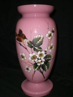 LARGE PINK VICTORIAN OPALINE GLASS VASE
