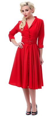1940s Dress- Heartbreaker Haute Jet Setter Red Monte Carlo Dress $158.00   http://www.vintagedancer.com/1940s/1940s-plus-size-dresses/