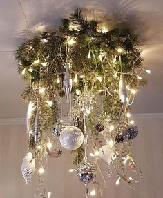 Pin by Martha Roberts on Christmas Christmas Ceiling Decorations, Christmas Chandelier, Christmas Swags, Christmas Centerpieces, Christmas Design, Outdoor Christmas, Christmas 2019, Christmas Home, Christmas Holidays