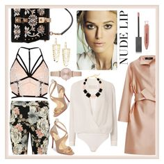 """""""Floral prints and nude lips"""" by ningaunis ❤ liked on Polyvore featuring River Island, Paule Ka, Dolce&Gabbana, Burberry, Boohoo, Michelle Mason, Christian Louboutin, DIANA BROUSSARD, Emporio Armani and Lana"""