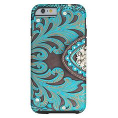 Turquoise Tooled Floral Leather Bling Diamond Prin Tough iPhone 6 Case