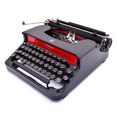 PRISTINE! Corona Special Portable Typewriter wCase Working Antique Red Black Vtg