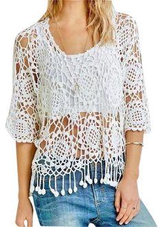 025861e149 New Cactus Flower Crochet Sweater Swimsuit Fringe Pom Pom Tassels Blouse White  Cover Up Vintage Shirt
