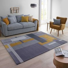 Room Colors, Rugs In Living Room, Home Room Design, Living Room Color Schemes, Living Room Decor Apartment, Grey And Yellow Living Room, Living Room Grey, Yellow Living Room, Stylish Rugs