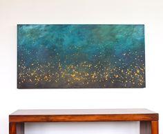 turquoise teal blue aqua brown mustard yellow modern art mid century large original acrylic painting on canvas. $350.00, via Etsy.