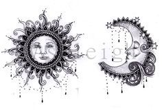 Bohemian Sun and Moon by tattoosbyashleigh