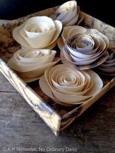 En låda pappersrosor - The prettiest paper rose DYI -
