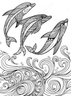 Three Zentangle Dolphin Coloring Pages