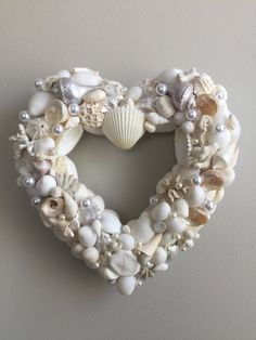 Excited to share the latest addition to my #etsy shop: White shell heart wreath/Valentine wreath/shell wreath/wedding wreath