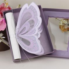 European style fancy classical purple butterfly scroll wedding invitations/ boxed wedding invitation cards