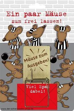 Ein paar Mäuse zum frei lassen www.der-schreibladen-shop.de #Geldgeschenk #Eigenart ##Papeterie #Postkarten #Glückwunschkarten