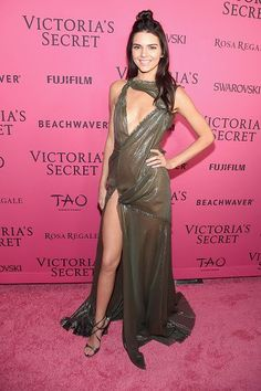 Kendall Jenner in Atelier Versaceon the pink carpet at the 2015 Victoria's Secret Fashion Show after party.