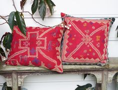 Sally Campbell, Handmade Textiles - CUSHION CRAVINGS great contrast with the patchwork runner in red!