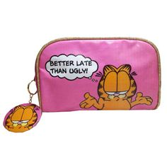 Garfield Better Late Than Ugly Makeup Bag & Mirror Cosmetic Case Retro Cat Bag Garfield Cartoon, Garfield And Odie, Fashion Handbags, Purses And Handbags, Ugly Makeup, Cat Bag, Retro Gifts, Wash Bags, Cosmetic Case