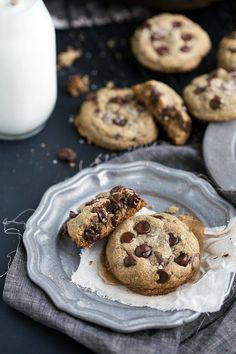 "The best ever flourless + healthy chocolate chip cookies. These cookies have no butter, white flour, or refined white sugar. They are bursting with flavor and sure to be your new favorite healthy ""indulgence."""