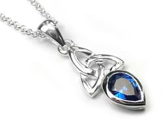 Silver Pendant - Celtic Trinity Sapphire Sapphire Color, Celtic Designs, Deep Blue, Birthstones, Sterling Silver Jewelry, Swarovski Crystals, Indigo, Chain, Pendant