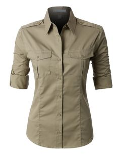 This easy care roll up sleeve twill button down shirt is perfect for uniforming. This shirt is strategically crafted from a mediumweight, durable material for maximum coverage while still offering all Womens Uniform Shirts, Look Fashion, Fashion Outfits, Looks Pinterest, How To Roll Sleeves, Workout Shirts, Fitness Shirts, Look Cool, Long Sleeve Tops