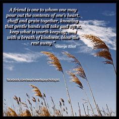 """A friend is one to whom one may pour out the contents of one's heart, chaff and grain together, knowing that gentle hands will take and sift it, keep what is worth keeping, and with a breath of kindness, blow the rest away."""