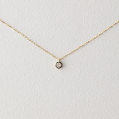 """HEXAGON DIAMOND NECKLACE by SATOMI KAWAKITA. Delicate 16"""" chain necklace made of 18k yellow gold, detailed with a small 3.4mm brown diamond pendant in a hexagon shaped setting"""