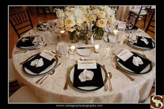 Stunning white centerpiece with a phalaenopsis orchid at each place setting for Lauren and Brian at Hotel Dupont. White Centerpiece, Centerpieces, Table Decorations, Menu Card Design, July 11, Menu Cards, At The Hotel, Traditional Wedding, Color Themes