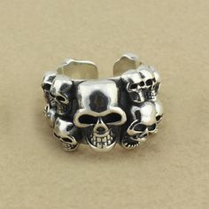 87a65f5f894 925 Silver Chrome Hearts Classical Skulls Ringent Ring  Silver Skull Rings   -  193.00   Buy Chrome Hearts