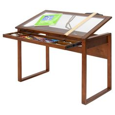 Lift-top desk with a solid wood frame, partitioned drawer, and adjustable angle surface. 170   Product: DeskConstructio...