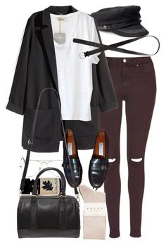 """""""Untitled #8981"""" by nikka-phillips ❤ liked on Polyvore featuring Topshop, H&M, American Vintage, Ray-Ban, Etienne Aigner, Falke and Forever 21"""