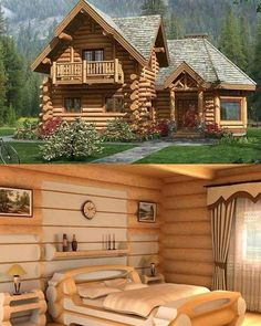 💖 77 extraordinarily beautiful interior and exterior log home designs of 51 Small Log Cabin, Log Cabin Homes, Log Cabins, Timber House, Wooden House, Cabins In The Woods, House In The Woods, Log Home Designs, Cabins And Cottages