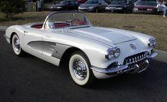 My dream car: A 1958 Chevy Corvette C1, silver on white. Cherry.