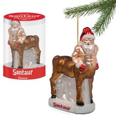 "LOL...Santaur is a half-Santa, half-horse Christmas ornament by Archie McPhee. The ornament is six inches tall, made of glass, and Archie McPhee warns it might be disturbing, but is ""probably awesome."" H..."