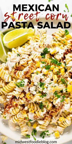 This Mexican Street Corn Pasta Salad is loaded with corn, cotija and a deliciously tangy, creamy dressing that is the st Mexican Food Recipes, Vegetarian Recipes, Dinner Recipes, Cooking Recipes, Healthy Recipes, Vegetarian Pasta Salad, Healthy Pasta Salad, Veggie Pasta Salads, Pasta Salad Recipes Cold