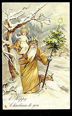 Brown Robe Santa Claus/father Christmas 1907 Postcard