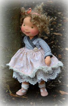 Lisette-handmade OOAK natural fiber art doll by Mon Petit Frère