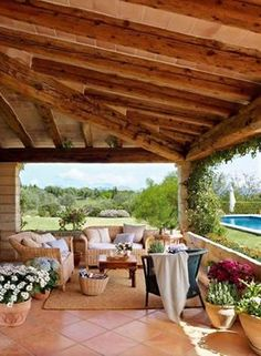 Love this living area. (Summer house on the island of Mallorca, Spain) Outdoor Rooms, Outdoor Gardens, Indoor Outdoor, Outdoor Living, Outdoor Furniture Sets, Outdoor Decor, Rattan Furniture, Small Gardens, Outdoor Seating