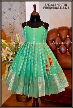 silk frock designs by Angalakruthi boutique kanchipuram silk designs for just born baby girls Girls Frock Design, Kids Frocks Design, Baby Frocks Designs, Baby Dress Design, Baby Girl Frocks, Frocks For Girls, Gowns For Girls, Little Girl Dresses, Baby Girl Lehenga