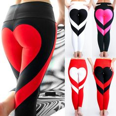 Buy 2018 New Fashion Sexy Women Special Design Love Heart Shape Yoga Leggings Heart Booty Pants Running Tights Crop Workout Pants at Wish - Shopping Made Fun Running Leggings, Gym Leggings, Sports Leggings, Workout Leggings, Workout Pants, Printed Leggings, Workout Wear, Legging Sport, Sport Pants