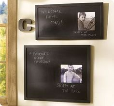 Refabbed Photo Chalkboards.. can make a message board for each family member
