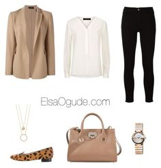 """""""Work outfits with jeans"""" by elsaogude on Polyvore featuring Frame, Jaeger, Theory, Charlotte Olympia, Gucci, Jimmy Choo and Kate Spade"""