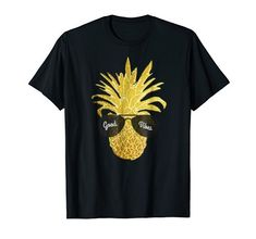 Hawaiian Pineapple T-Shirt in faux gold-You will feel cool and rich wearing this uniquely faux gold designed pineapple wearing sunglasses fashion tshirt! This is a unisex tee, wear it as either casual or dressy to the beach, ocean, on summer vacation, camping, hiking, or tropical Hula parties. Women, ladies and girly girls can wear this along with their cute wardrobe. Men can wear this t shirt at their next Hawaiian Tiki party or Luau looking trendy. Great gift idea for birthdays Hawaiian Tiki, Tiki Party, Girly Girls, Hula, Pineapple, Great Gifts, Shirt Designs, Birthdays, Hiking