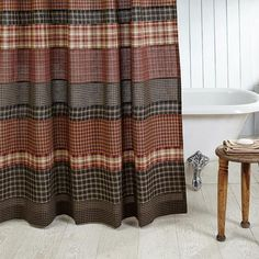 Beckham Patchwork Shower Curtain - Retro Barn Country Linens - 1