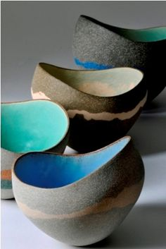 Bowls by Kerry Hastings Ceramics. International ceramic artist Kerry Hastings makes ceramic vessels which explore themes such as harmony and discord, colour and form, silhouette and contour. Pottery Bowls, Ceramic Pottery, Pottery Art, Mccarty Pottery, Ceramic Clay, Ceramic Bowls, Glazed Ceramic, Keramik Design, Sculptures Céramiques