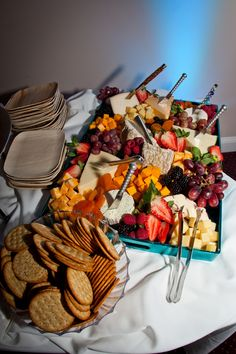 Cheese, fruit and cracker platter