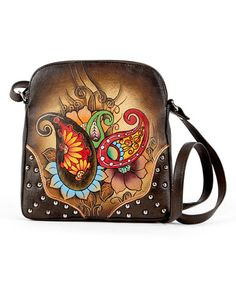 f812ba8b2f8 Look at this Biacci Brown Hand-Painted Zip-Top Leather Crossbody Bag on  today!