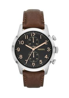 New Fossil Men's Townsman Stainless Steel Watch With Brown Leather Band online. Perfect on the Fossil mens watches from top watches store -newwatches Fossil Watches For Men, Men's Watches, Wrist Watches, Casual Watches, Fashion Watches, Men Fashion, Fashion Trends, Brown Leather Strap Watch, Shopping